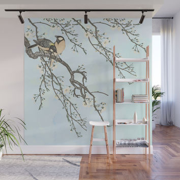 Birds and blossoms Wall Mural by anipani