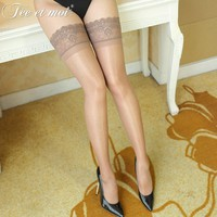 Thigh High Sexy Stockings Lace Top Long Silicone Stay Up Solid Transparent Nylon Stockings For Women Medias Over The Knee Socks