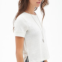 FOREVER 21 Heathered Knit Tee Oatmeal