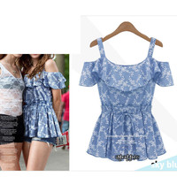 Strappy Ruffled Floral Top