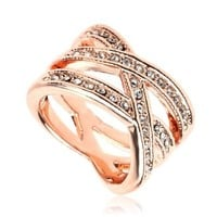 Swarovski Crystal Birds Nest Rose Gold Gp Finger Ring