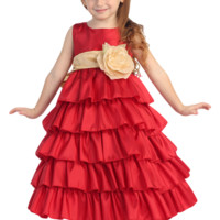 (Sale) Red Taffeta Blossom Flower Girl Dress with 5 Tiers of Ruffles (Girls 12 months - Size 12 & Plus Sizes)