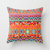 India Style Pattern (Multicolor) Throw Pillow by Maximilian San