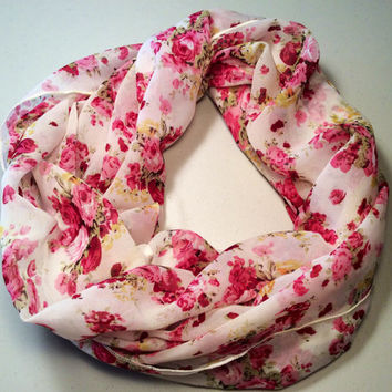 Spring, Summer Lightweight Infinity Scarf, Loop Scarf, Circle Scarf - Vintage Flower Print, Pink & Red, Mother's Day, Birthday, Easter