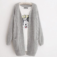 Loose Long Pockets Sleeve Knit Cardigan Sweater Outerwear