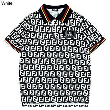 Fendi 2019 new full printed logo lapel Polo half sleeve t-shirt white