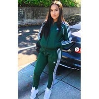 Adidas Women Men Long Sleeve Shirt Coat Sweater Pants Sweatpants Set Two-Piece Green