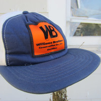70s Blue Texas Construction Worker Trucker Hat // Williams Brothers Construction Co. Inc. Houston Cap