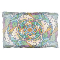 Mandala Trippy Stained Glass Hedgehog Pillow Case