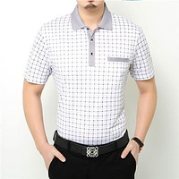 Free Shipping Summer Short Sleeve Plaid T Shirt with Packet Casual T Shirt Men Business Dress Cotton T-Shirt