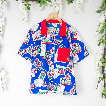Vintage Blue Hawaiian Button Up Blouse