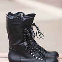 Georgia Star Lace Up Combat Boots