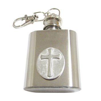 Oval Religious Cross 1 Oz. Stainless Steel Key Chain Flask