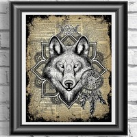 Witchcraft Wiccan Print, Wolf and Pentagram, Pagan Art Work, Mixed Media Book Art, Occult art, Dictionary Book Page, Unframed