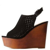 Black Bamboo Perforated Slingback Wooden Wedges