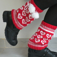 Hand Knit Winter Boot Covers with Hearts by ArzuMusaKnitting