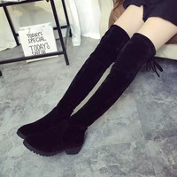 Hot Deal On Sale Round-toe With Heel Stretch Slim Boots [9013549124]