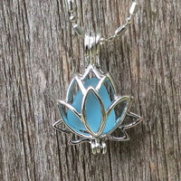 Caribbean Blue Sea Glass Lotus Flower Locket by Wave of LIfe