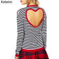 Classic Striped Pattern Long Sleeve T Shirt Casual Hit Color Round Neck S-XL Women Tops Cute Love Heart Hollow Out T-shirt