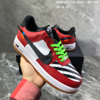 hcxx N1548 Nike Air Force 1 Leather Montage Skateboard Shoes Red White Black