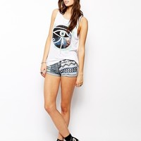 Lira Distressed Denim Shorts With Geo-Tribal Print - Blue