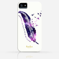 Galaxy Feather with Quotes iPhone 4 Case, iPhone 4s Case, iPhone 5  Case, iPhone 5s Case, iPhone Hard Plastic Case
