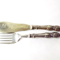 Antique Fish Servers, Silver Plated Serving Cutlery, Edwardian Flatware, Downton Abbey Shabby,Sheffield Knife and Fork, Kings Pattern