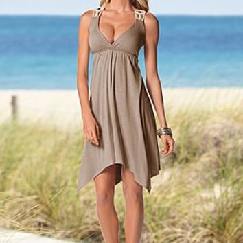 Mocha Tan (MC) Detail Strap Knit Dress