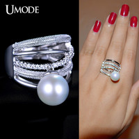 UMODE New Design Cocktail Rings Synthetic Pearl Charm Micro CZ Beautiful Ring White Gold Color Fashion Jewelry For Women UR0165