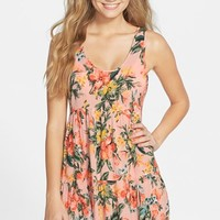 Junior Women's Rip Curl 'Paradise Found' Print Tiered Cover-Up Dress