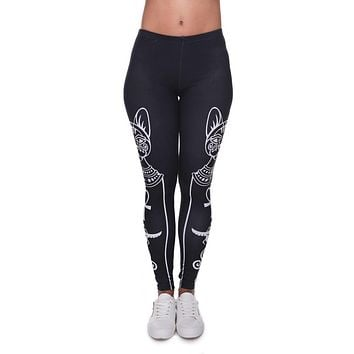 High Elasticity Egyptian cat symbols Printed Fashion Slim fit Legging