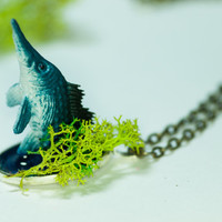 """Blue Fish Handemade Pendant Necklace 
