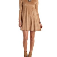 Camel Faux Suede Long Sleeve Swing Dress by Charlotte Russe