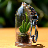 Coral Cactus Plant Keychain