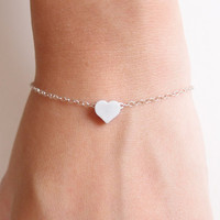 Silver Heart Bracelet  Sterling Silver  dainty by theplaincanvas
