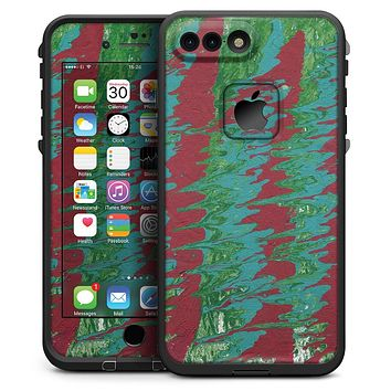 Abstract Wet Paint Mint Green to Red - iPhone 7 Plus LifeProof Fre Case Skin Kit