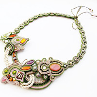Soutache handmade necklace. Cord fashion jewelry. Colorful statement jewelry.