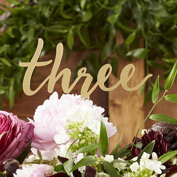 Gold Script Table Numbers (Set of 6)