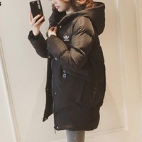 """""""Adidas"""" Women Fashion Simple Solid Color Long Sleeve Hoodie Cotton-padded Clothes Coat"""