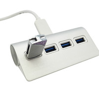 Aluminum 4 Port USB 3.0 Hub MacBook Air MacBook Pro iMac Laptop PC Cable Length 18 inch