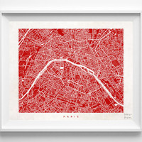 Paris, Map, France, Poster, French, Print, Beautiful, State, Nursery, Art, Decor, Town, Illustration, Room, World, House, Street [NO 582]