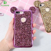 FLOVEME Glitter Cover For iPhone 6 6S Plus iPhone 7 8 Plus X Phone Case Cute 3D Mickey Mouse Coque Capa For iPhone SE 5S S Cases