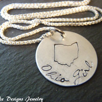 Sterling silver Personalized state Necklace custom state