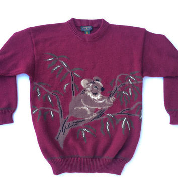 Vintage 90s KOALA SWEATER Charter by Jane Justin size Medium