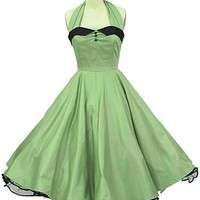 Classic Dame 50s style green halter swing dress #swingdress #greendress #vintagestyledress #50sstyledress