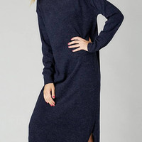Navy Maxi Knitted Dress with Splited Hem