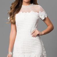 Off White Lace High-Neck Short-Sleeve Graduation Dress
