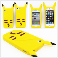 New Style Anime Cartoon 3D Pocket Monsters Pokemon Pikachu Cute Silicone Back Cover Case For iPhone 4 4s 5 5s 6 6 plus