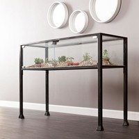 Southern Enterprises Black and Distressed Silver Terrarium Console Table-HD865270 - The Home Depot