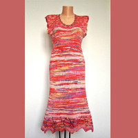 Cotton Bodycon Summer Dress Beach Sleeveless Knee Lenght Handknitted Multicolored Dress Lace